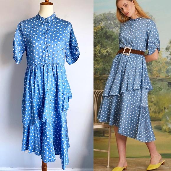 SISTER JANE Blue Jasmine Knot Ruffle Midi Dress